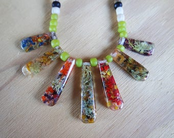 Eco Resin Pendants and Beaded Necklace - METANICAL