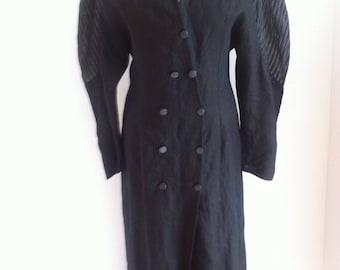1980s Black Linen Button Front Architectural Sleeve Dress - Uk14-16, US10-12