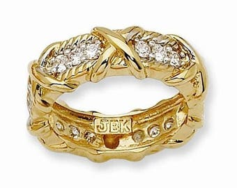 Jackie Kennedy 24K GP Ring - Unity Band with Clear Stones, Box and COA - Size 9.5