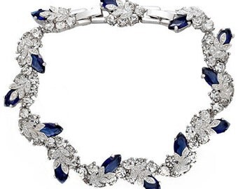 Jackie Kennedy Snowflake Bracelet - Rhodium Plated, Crystals and Faux Sapphires - Sz 7 or 8
