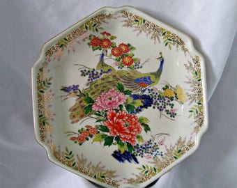 Beautiful Six Sided Sato Gordon Collection Plate / Bowl with Peacock and Gold Gilting in Lovely Colorful Mums / Asian Style Made in Japan
