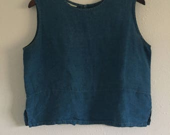 Indigo Dyed Linen Blouse, Naturally Dyed Linen