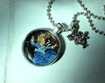 Alice in Wonderland Necklace with White Rabbit charm