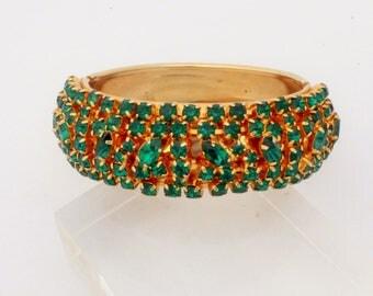 Fabulous Emerald Green Rhinestone Hinge Bracelet signed BY GALE
