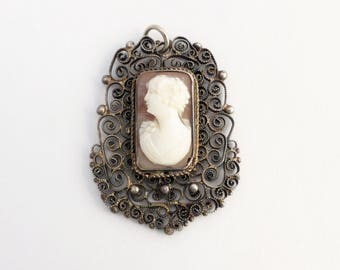 Antique 900 Silver Filigree Frame Hand Carved Shell Left Facing Cameo Pendant