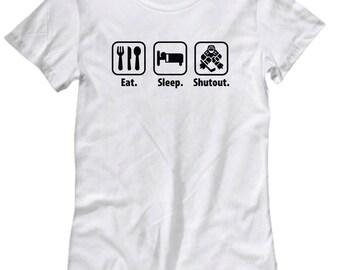Eat Sleep Shutout Goalie Goaltender Ice Hockey Funny Shirt Gift