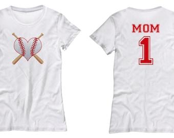 Baseball Mom #1 Fun Sports Gift Shirt for Women Mother Bat Ball Heart