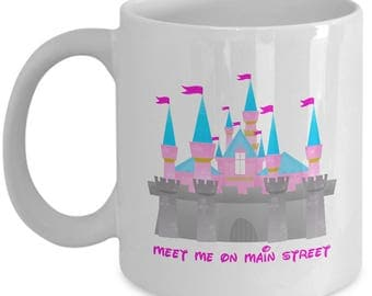 Meet Me on Main Street Disney Castle Gift Mug Coffee Cup Disneyland Fun