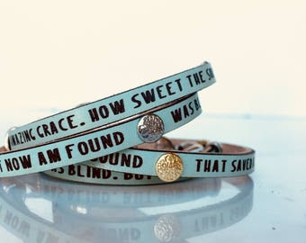 Amazing Grace: Leather wrap bracelet, gifts for her,