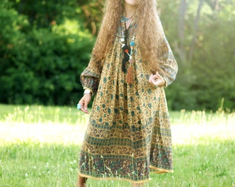 Shalimar Indian mustard midi dress Bohemian cotton long maxi BOHO gauze tassel India gypsy festival puffy poet sleeve midi hippie gown Tunic
