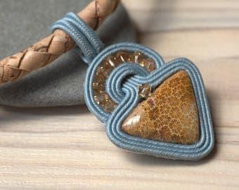 Soutache necklace cork OOAK fossil coral Swarovski handmade in Italy