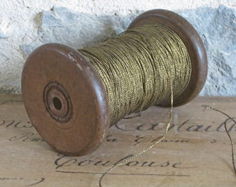 Gold twisted cord, fine metallic cording, new old stock from a French textile mill