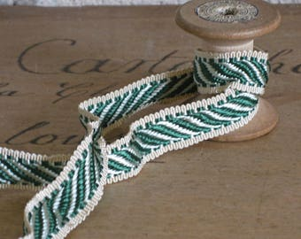 green stripy braid trimming, unused French haberdashery passementerie by the metre