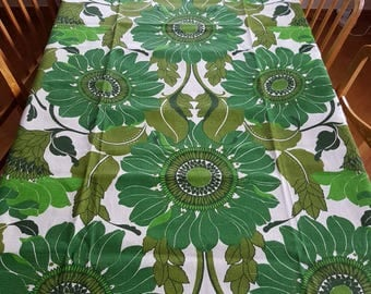 Retro amazing large mint 1970 green floral printed rektangular tablecloth  in cotton from Sweden