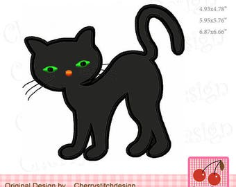 Halloween Black Cat,Halloween Machine Embroidery Applique Design - for 4x4,5x7 and 6x10 hoop