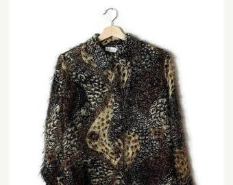 ON SALE Vintage Leopard / Animal pattern Shaggy Long sleeve shirt  from 1980's*