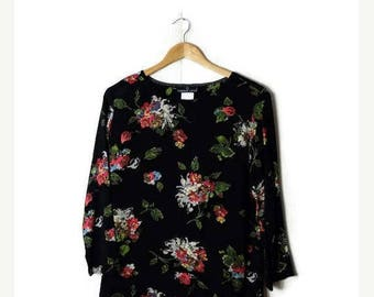ON SALE Vintage Black x Beautiful Floral printed  Long sleeve Slouchy blouse from 1980's*