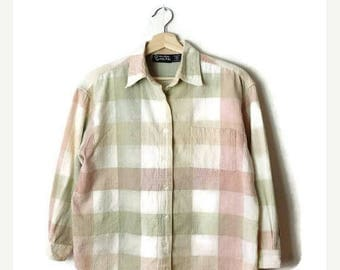 ON SALE Vintage Pale Pink/Green checked  Cotton Long sleeve Blouse from 90's*