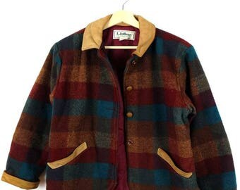 Vintage L.L.Bean Checked Wool Jacket/Leather collared*
