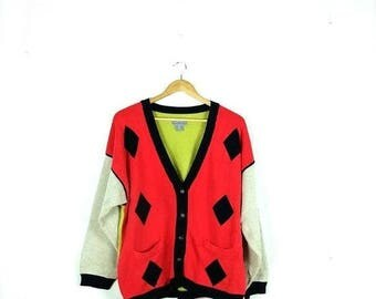 WINTER SALE 20% OFF Vintage Color Blocked x Diamond Cotton Sweater Cardigan from 90's*