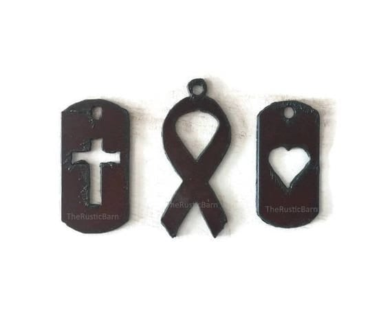 Dog Tags Cross or heart or Cancer Ribbon Pendant Charm Cutouts (any 2) made of Rustic Rusty Rusted Recycled Metal