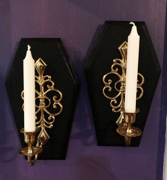 Pair of Coffin Candle Holder Sconces