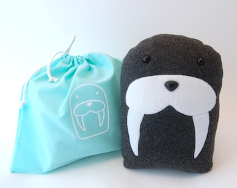 DIY Kit Walrus Arctic Pillow Plush - Fleece Fabric Animal Plushie - Do It Yourself Craft for Children and Adults - Make Your Own Sea Friend