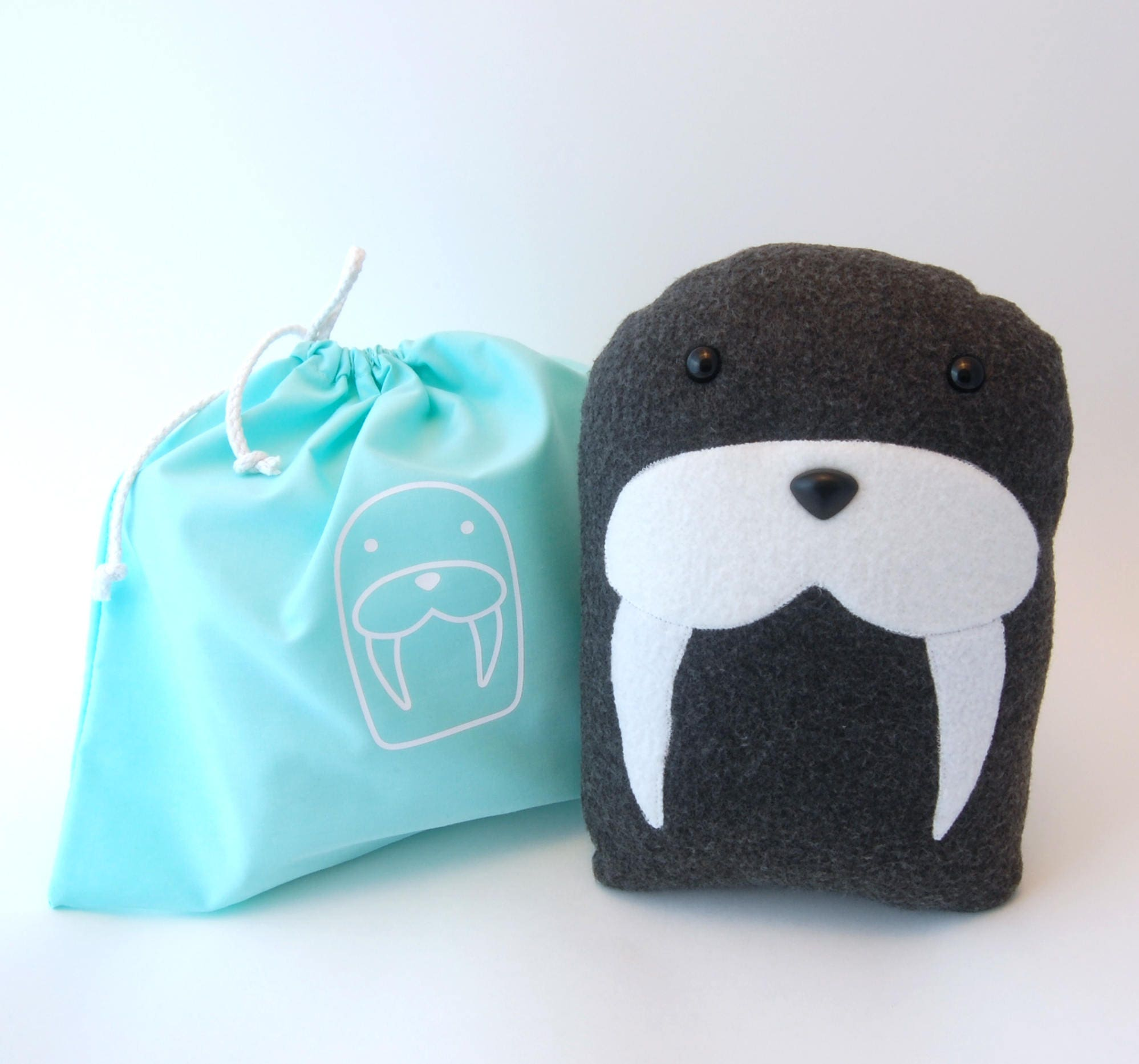 Plush Craft Animal Friends Pillow Kit : DIY Kit Walrus Arctic Pillow Plush - Fleece Fabric Animal Plushie - Do It Yourself Craft for ...