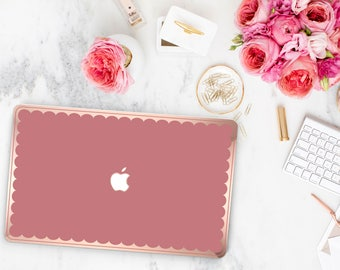 Mauve Glow and Scallop Rose Gold Edge Hybrid Hard Case for Apple Mac Air & Mac Retina , New Macbook 2016 - Platinum Edition