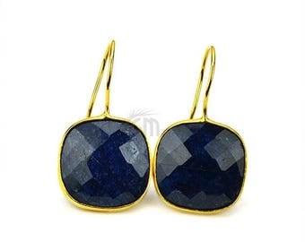 Blue Sapphire Hook Earring, Cushion Shape 24k Gold Plated Gemstone Dangle Earring (SHER-90110)