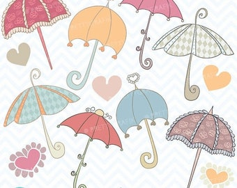 80% OFF SALE Umbrella clipart commercial use, vector graphics, digital clip art, digital images - CL327