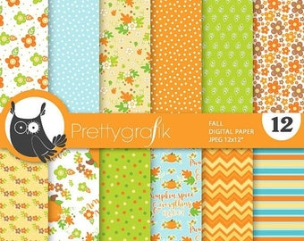 80% OFF SALE Fall flowers digital papers, scrapbook papers commercial use, witch scrapbook papers, background  - PS822