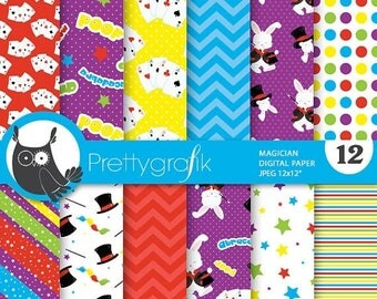 80% OFF SALE Magician digital paper, commercial use, scrapbook papers, background, magic - PS678