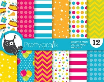80% OFF SALE Monster birthday party digital paper, commercial use, scrapbook papers, background - PS682