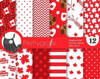 80% OFF SALE Canada Day digital papers, commercial use, scrapbook papers, background  - PS728