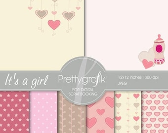 80% OFF SALE baby girl digital paper, commercial use, scrapbook papers, background - PS541