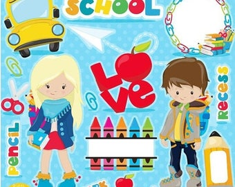 80% OFF SALE Back to School clipart, school clipart commercial use, kids back to school graphics, digital clip art, digital images - CL1095