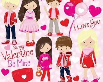 80% OFF SALE Valentine kids clipart commercial use, valentine vector graphics, digital clip art, digital images - CL782