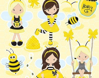 80% OFF SALE Busy bee girl clipart for scrapbooking, commercial use, vector graphics, digital clip art, images, slumber party - CL671
