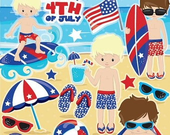 80% OFF SALE Independence day clipart, 4th of July clipart commercial use vector graphics, Patriotic boys clip art, digital images - CL995