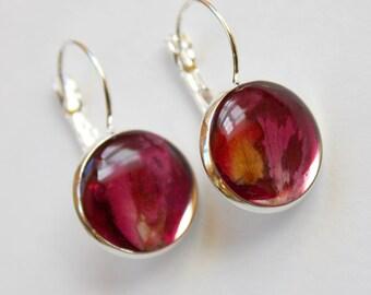 Rose petal earrings, flower earrings, pink earrings, rose petal and resin earrings, made in Canada.