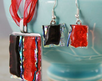 Jerkyl and Hide in red. Unique glass pendant and earrings set. One of a kind.