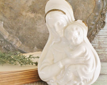 Vintage White Mary Madonna Bust Statue Bisque Pottery Farmhouse Decor Fixer Upper Decor