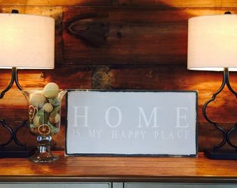 Home is my happy place | handpainted sign | home sweet home | home decor | home quotes |