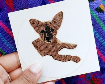 Chihuahua Sticker,  Dog sticker, Art Decal, Laptop Sticker, Dog Car Sticker, Puppy Beaded Art, Original Art Sticker, Bumper Sticker