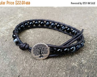 25% Off black onyx leather wrap bracelet single wrap chakra bracelet tree of life button black leather boho bracelet