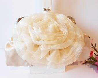 Vintage Evening Bag, Champagne Evening Bag, Organza Flower, Formal Purse, Wedding Bridal, Champagne Clutch Bag EB-0038