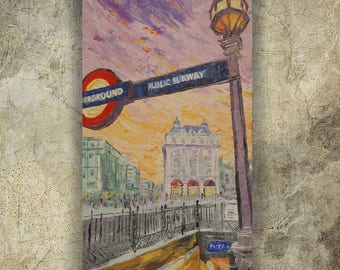 LONDON Piccadilly palette knife painting 60x120x4 cm Large painting S41 beige decor original art by Ksavera