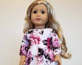 Purple and Fuschia Floral Skater Dress for American Girl and other 18 inch dolls by The Glam Doll