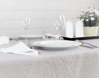 Gray Linen Tablecloth, Pure linen tablecloth, Wedding tablecloth, Rustic tablecloth, Grey  linen